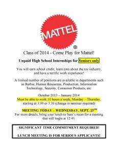2013 Mattel HS Intern Flyer
