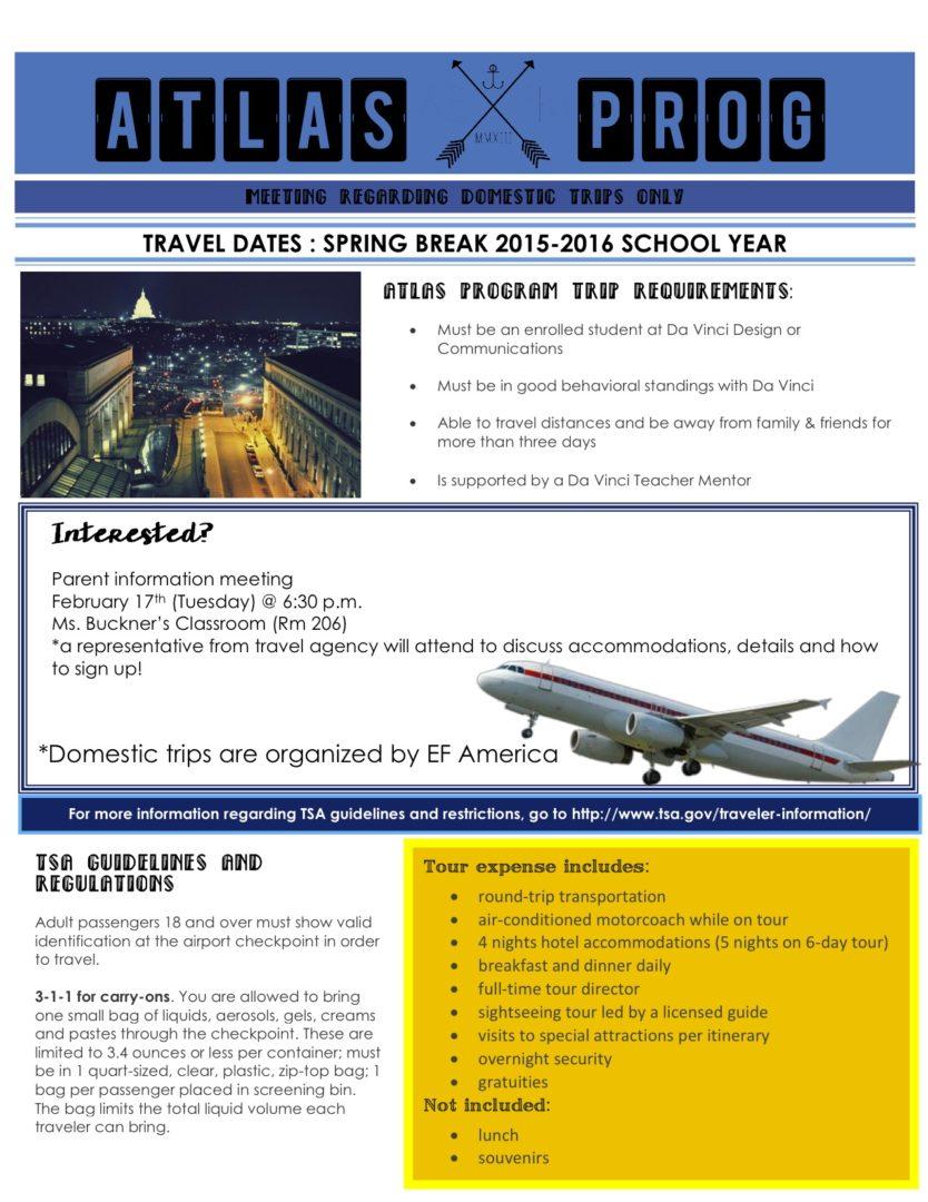 Info 2015-16 Domestic Trips