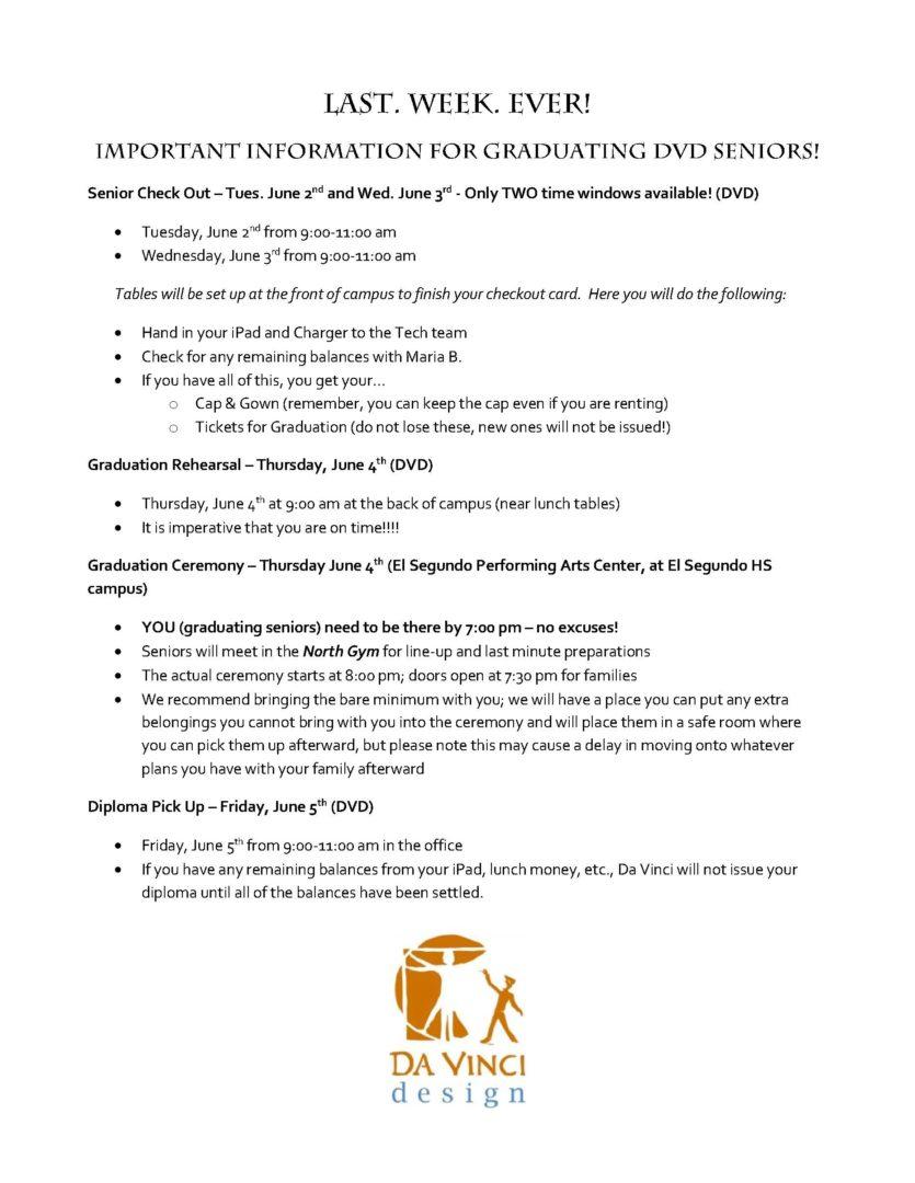 Last Week - Important Senior Info 14-15