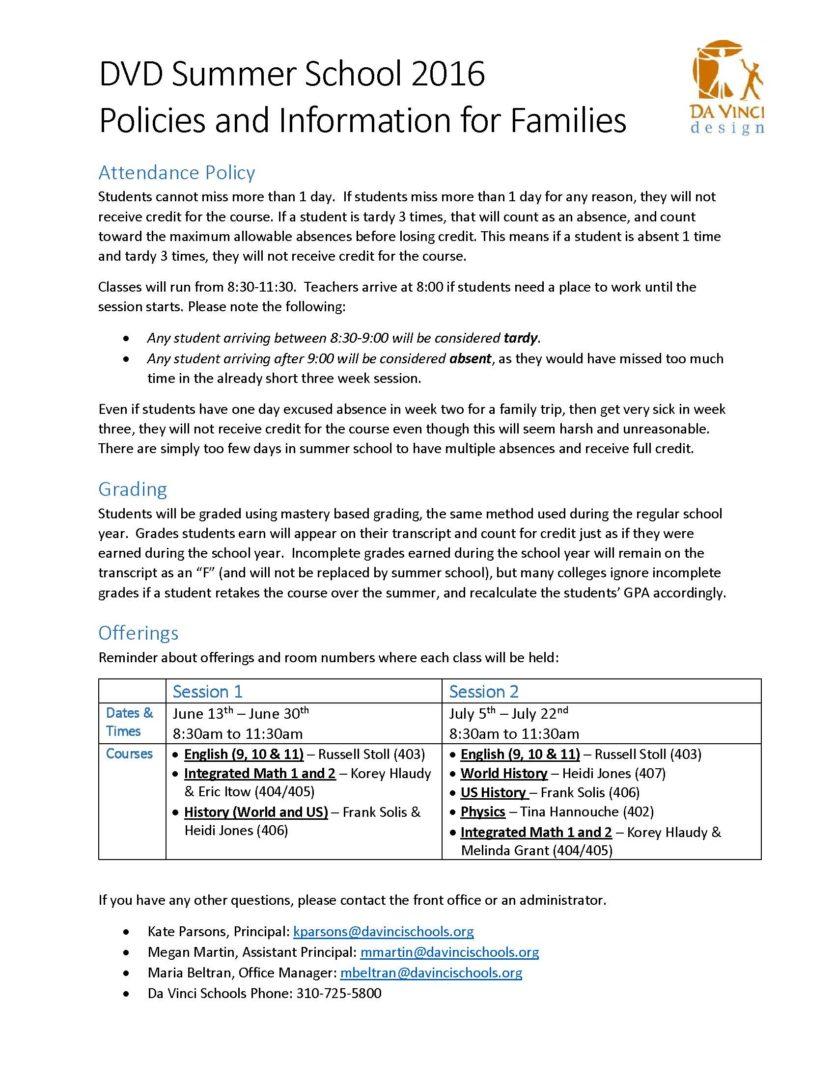 DVD Summer School 2016 Policies and Info
