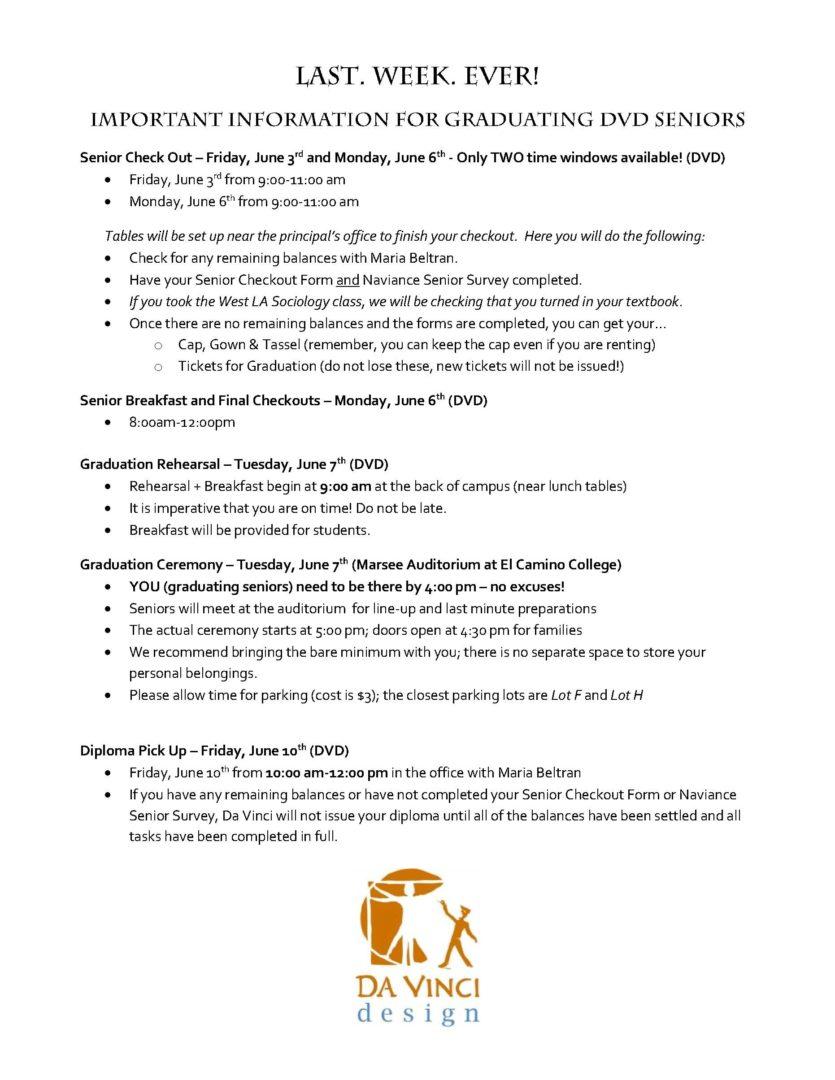 Last Week - Important Senior Info 15-16
