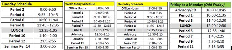 Odd Friday Bell Schedules