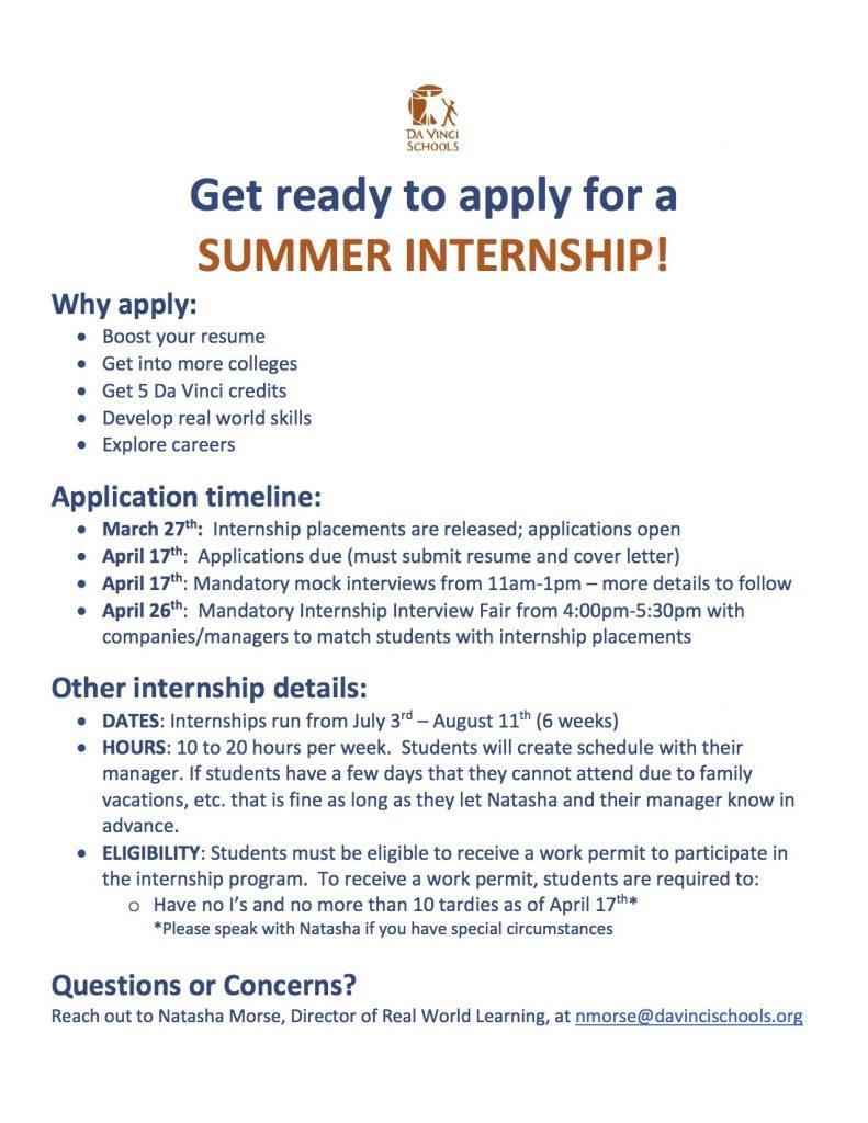 Summer 2017 Internship Timeline Eligibility Flyer