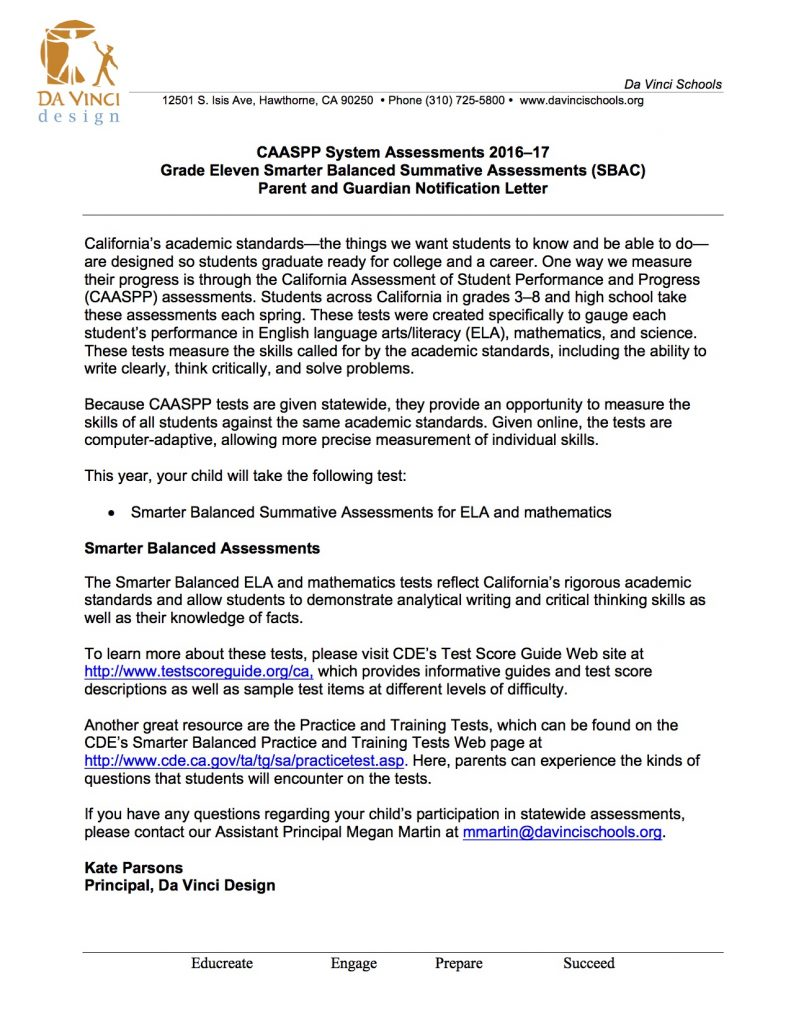 SBAC Parent Letter