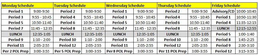 Week 36 Bell Schedule