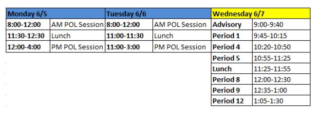Week 38 Bell Schedule